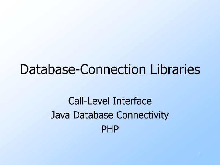 database connection libraries n.