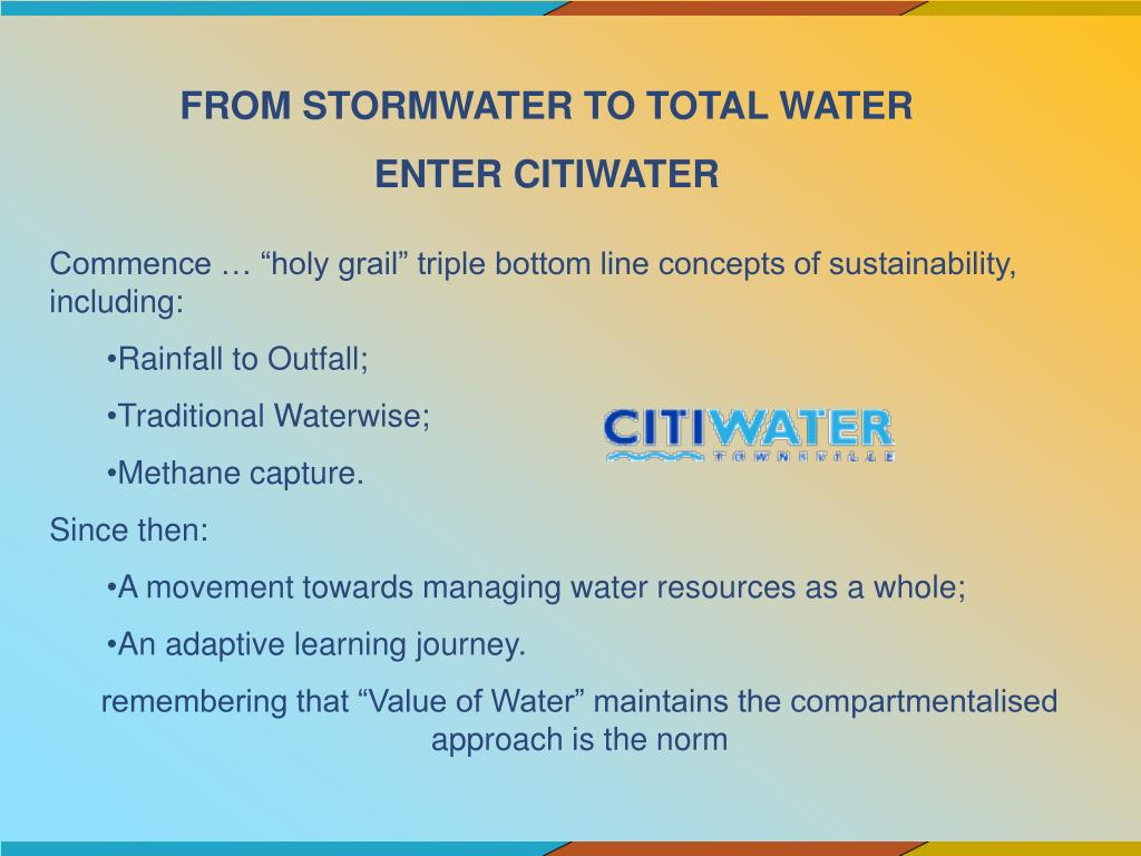 FROM STORMWATER TO TOTAL WATER