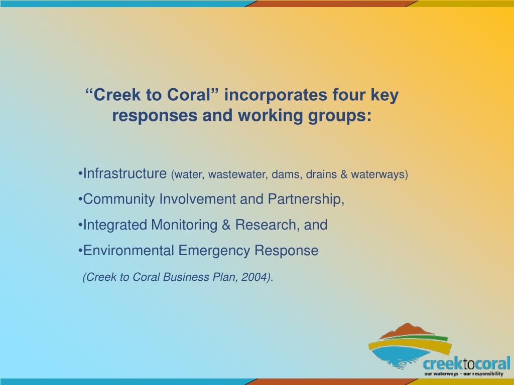 """""""Creek to Coral"""" incorporates four key responses and working groups:"""