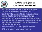 eac clearinghouse technical assistance