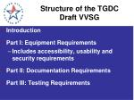structure of the tgdc draft vvsg