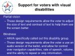 support for voters with visual disabilities