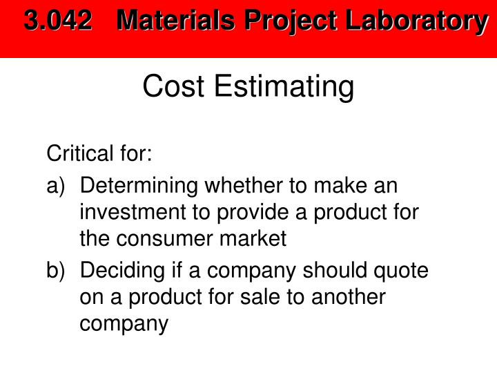 cost estimating n.