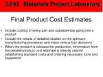 final product cost estimates