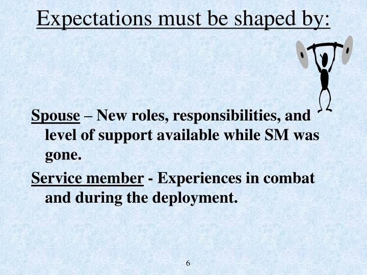 Expectations must be shaped by: