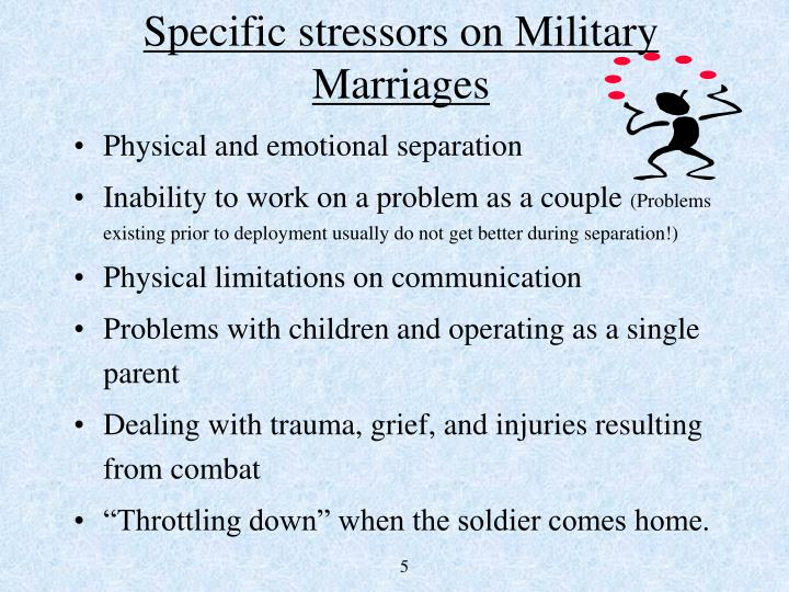 Specific stressors on Military Marriages