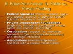 b know your funder i public vs private funding