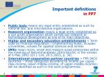important definitions in fp7