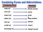 combining forms abbreviations angi o