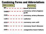 combining forms abbreviations bp