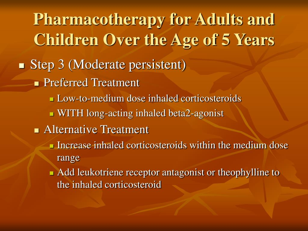 Pharmacotherapy for Adults and Children Over the Age of 5 Years
