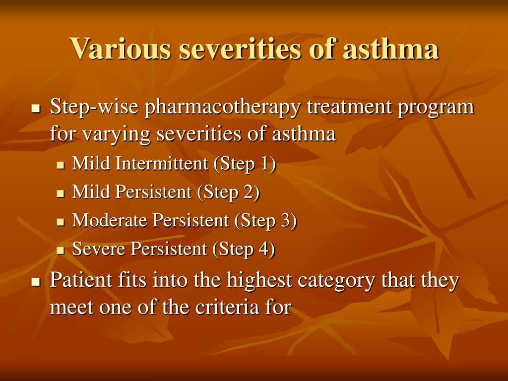 Various severities of asthma