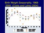 birth weight seasonality 1968 2000 costa and lahey 2004