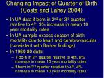 changing impact of quarter of birth costa and lahey 2004