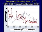 seasonality mortality index nyc 1820 1920 conrad and lentzer 2003