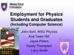 employment for physics students and graduates including computer science