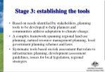 stage 3 establishing the tools