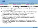 professional learning teacher implications