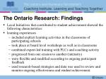 the ontario research findings