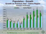 population growth growth on previous year cairns region estimated residential