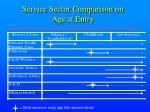 service sector comparison on age at entry