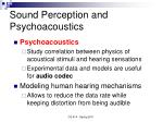 sound perception and psychoacoustics