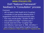 www nhscare info doh national framework feedback to consultation process