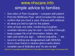 www nhscare info simple advice to families