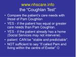 www nhscare info the coughlan test