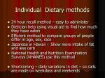 individual dietary methods