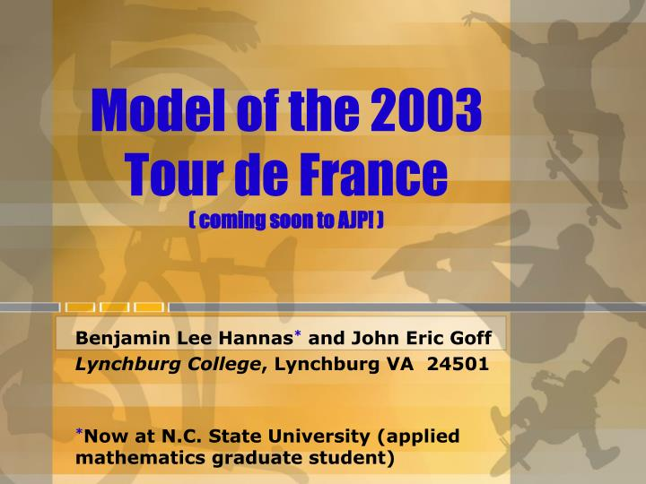 model of the 2003 tour de france coming soon to ajp n.