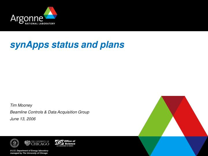 synapps status and plans n.