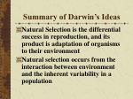 summary of darwin s ideas
