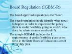 board regulation igbm r