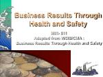 business results through health and safety