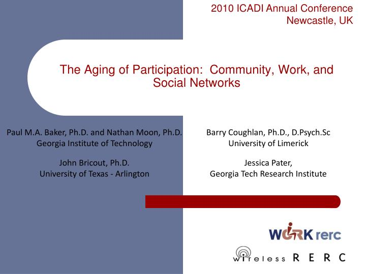 the aging of participation community work and social networks n.