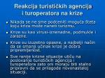 r eakcija turisti kih agencija i turoperatora na krize