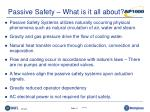 passive safety what is it all about