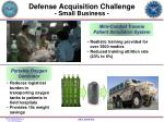 defense acquisition challenge small business