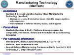 manufacturing technology mantech
