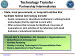 technology transfer partnership intermediaries