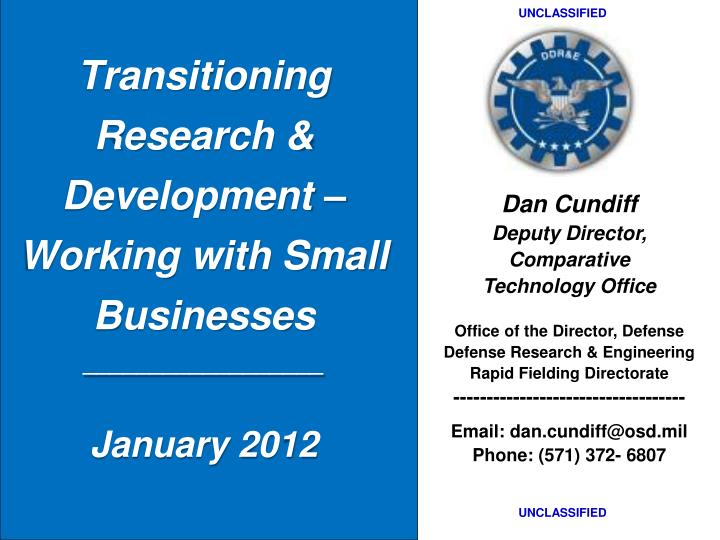 transitioning research development working with small businesses january 2012 n.