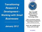 transitioning research development working with small businesses january 2012
