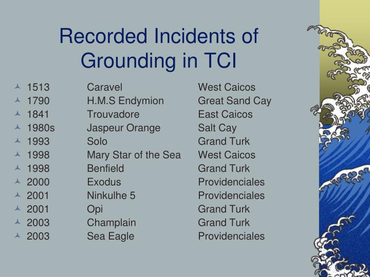 Recorded Incidents of Grounding in TCI