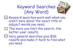 keyword searches any word