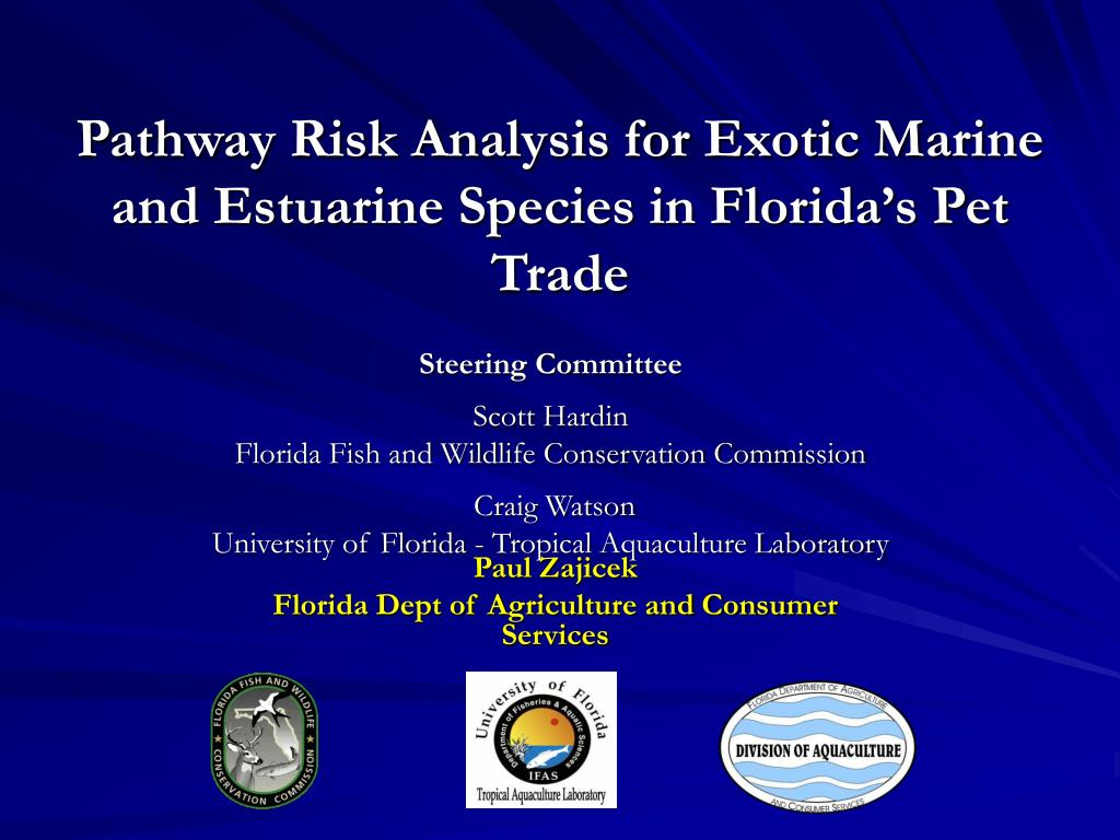 pathway risk analysis for exotic marine and estuarine species in florida s pet trade l.