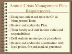 annual crisis management plan requirements