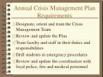 annual crisis management plan requirements