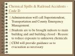 chemical spills railroad accidents code d