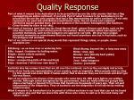 quality response